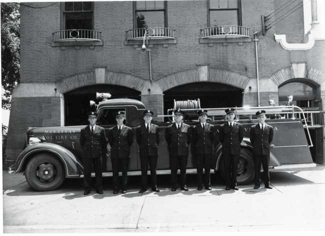 Manassas Volunteer firemen in 1948