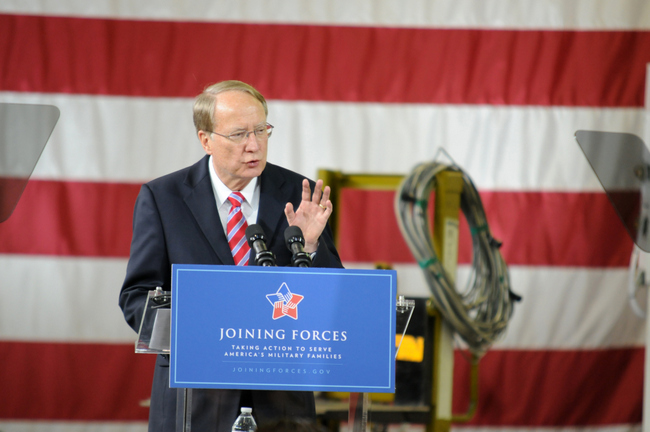 Air Force Gen. Frank Klotz spoke about the need to hire more veterans.  [Photo: Mary Davidson/Potomac Local]