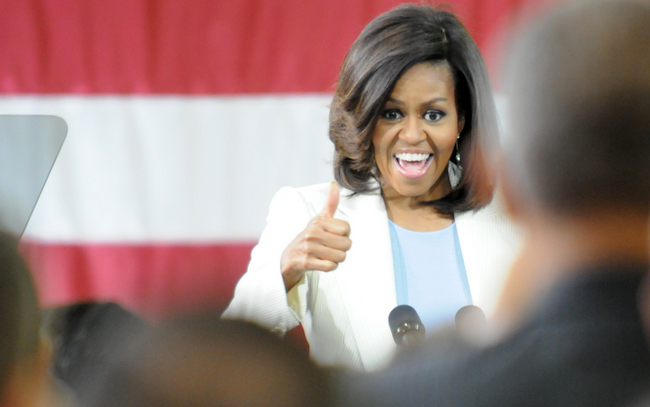 First Lady Michelle Obama spoke at Micron Technologies in Manassas. [Photo: Mary Davidson/Potomac Local]