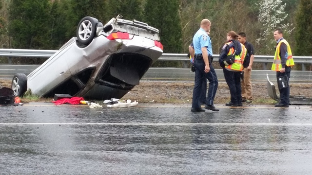 Police were called to an overturned car on Prince William Parkway.