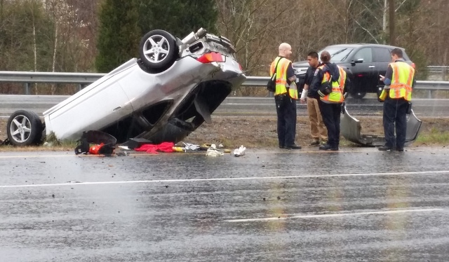 The driver of an overturned car on Prince William Parkway appeared to have suffered minor injuries.