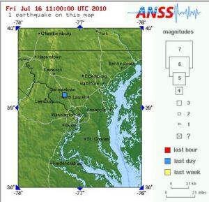The U.S. Geological Survey map depicting the Washington area quake.