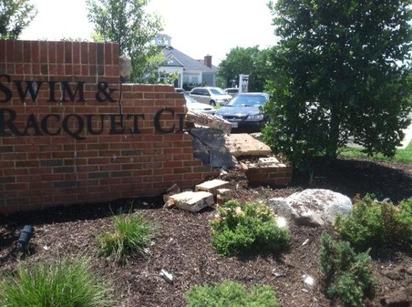 A car slammed into an all-brick sign at the Southbridge Community Center on Saturday night. (Photo: Doug Thornton)