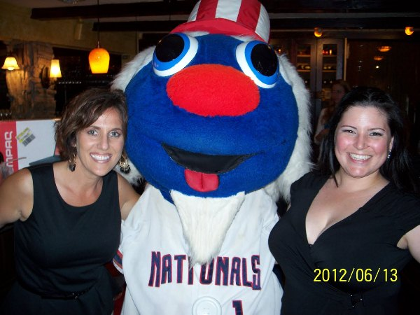 Potomac Nationals' mascot, Uncle Slam, waits tables at a charity event in June 2012. (Submitted)