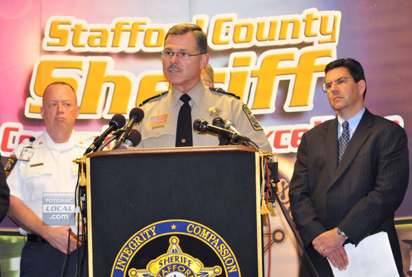 Stafford fire and rescue Acting Chief Mark Lockhart, Sheriff Charles E. Jett, and ATF Special Agent Richard Marianos appear at a press conference in Stafford. [File photo: Mary Davidson/PotomacLocal.com]