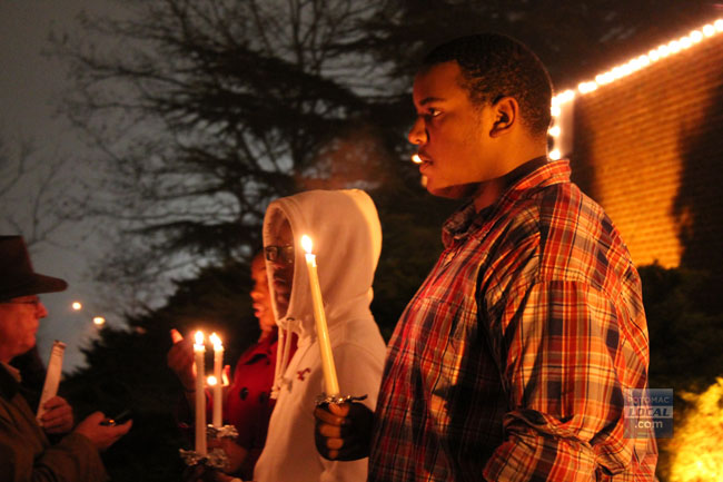 Students gathered outside the Manassas Museum on Monday night for a candlelight vigil honoring the victims of the Connecticut school shooting. (Uriah Kiser/PotomacLocal.com)