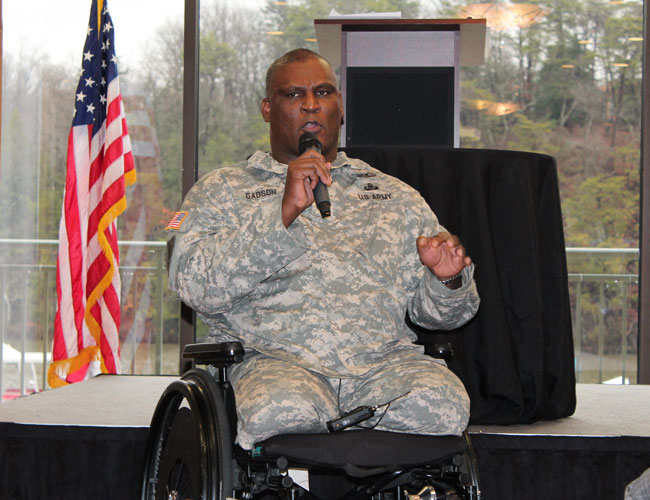 Driving home the importance of helping veterans transition from the military into the workforce, Col. Gregory D. Gadsen, commander at Ft. Belvoir, said a country owes its all-volunteer military more than just a simple thank you. [Photo: Uriah Kiser / Potomac Local News]