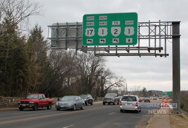 The Falmouth Bridge links Stafford County with Fredericksburg via U.S. 1. Drivers closest to the camera are headed south. [Photo: Uriah Kiser  / Potomac Local News]