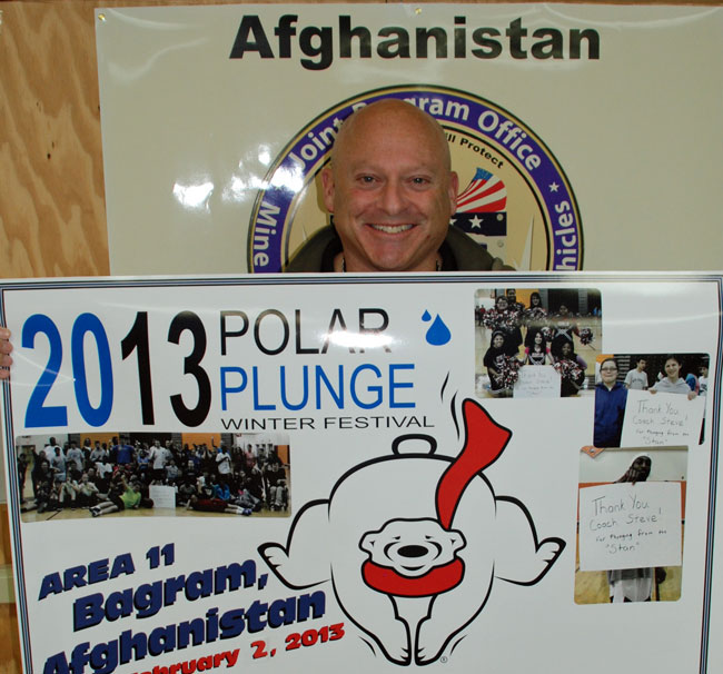 Soldier Steve Costa, of Stafford, deployed to Afghanistan six months ago but swore he wound't miss the Polar Plunge for the Special Olympics of Virginia. [Submitted photo]