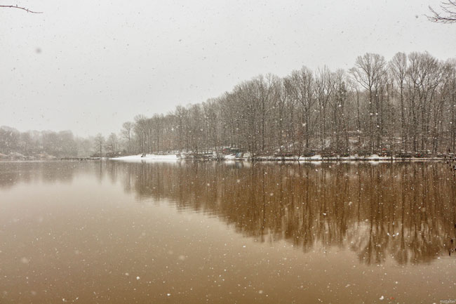 Snowflakes fall over Lake Montclair in Prince William County. [Photo: Mike Stalter]