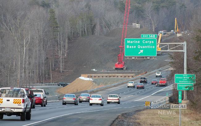 Construction of the 95 Express Lanes at Quantico. [Photo: Uriah Kiser / Potomac Local News]
