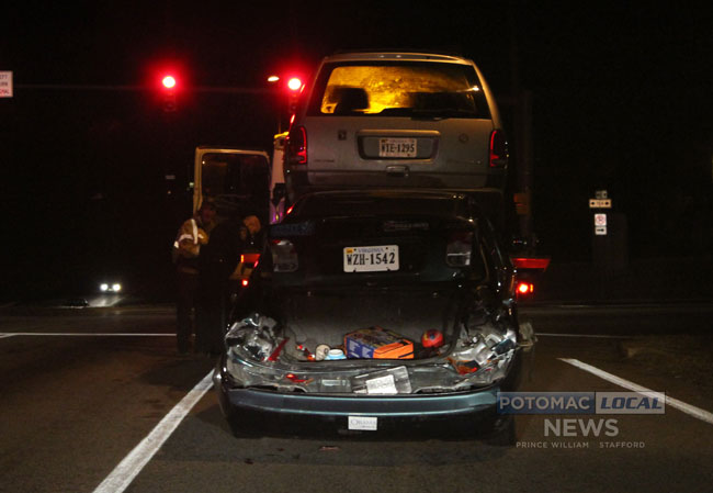 A serious crash on Dale Boulevard on Wednesday night left four people seriously injured. [Photo: Uriah Kiser/ Potomac Local News]