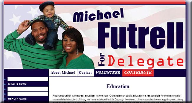 A screenshot of 2nd District candidate Michael Futrell's website.