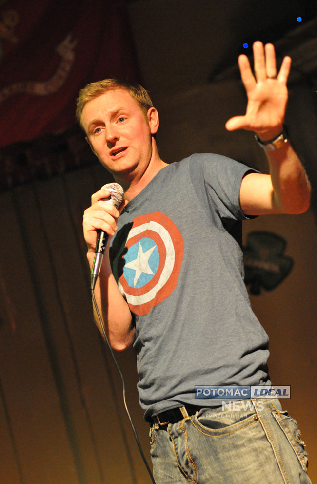 Comedian Lucus Bohn performed at Mainstreet Grill and Bar in North Stafford on Saturday. [Photo: Mary Davidson / Potomac Local News]