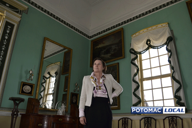 Susan Schoelwer, curator at Mount Vernon, stands in a restored room of the mansion. (KJ Mushung/Potomac Local News)