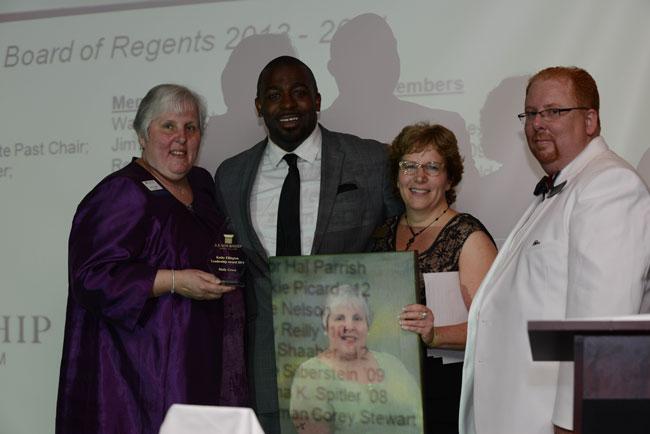 From left, Molly Grove accepts the Kathy Ellington Leadership Award from Glenn Vickers, Kathy Bentz & Jason Hickman of Leadership Prince William.