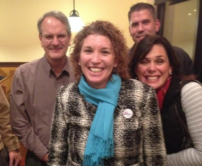 Campaign supporters surround Brentsville Supervisor-elect Jeanine Lawson at a campaign victory party in Gainesville. [Submitted]