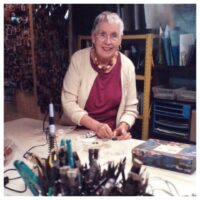 Jean working in her studio in 2014
