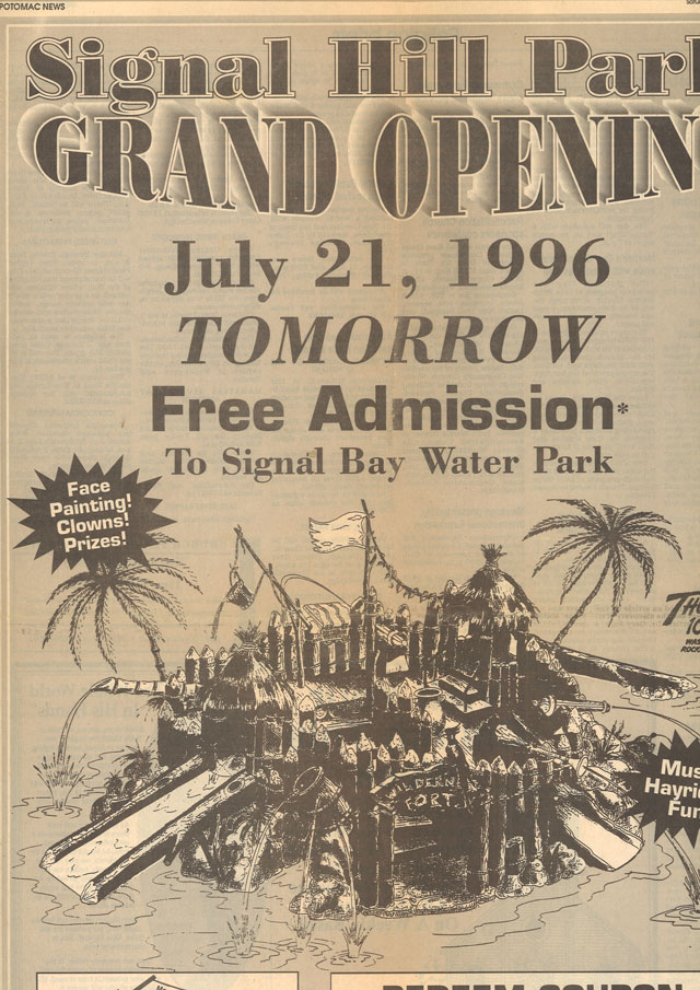This advertisement for Signal Bay Waterpark appeared in the Potomac News newspaper.